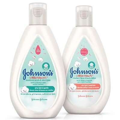 Johnson's CottonTouch lotion and wash for newborns